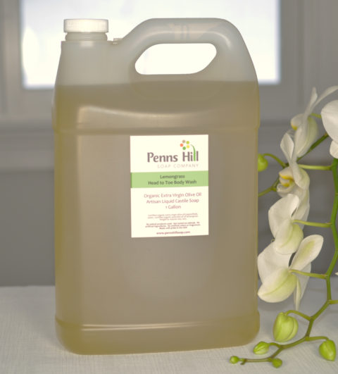 organic liquid castile olive oil soap with lemongrass