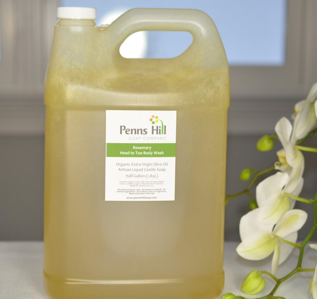 Organic Olive Oil Liquid Soap With Rosemary Half-Gallon